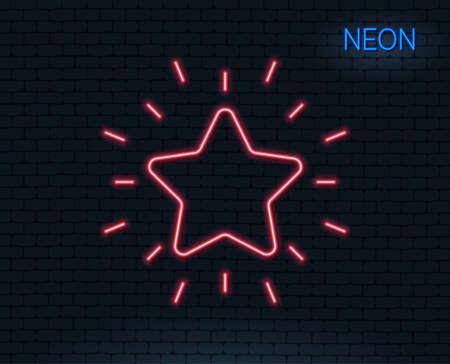 ネオンライトランク付け星線アイコン。成功報酬記号。最良の結果記号。輝くグラフィックデザイン。レンガの壁ベクトルイラスト。  イラスト・ベクター素材