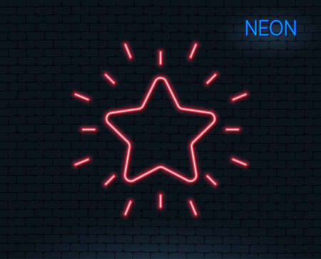 Neon light. Rank star line icon. Success reward symbol. Best result sign. Glowing graphic design. Brick wall. Vector illustration.