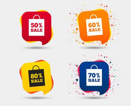 판매 가방 태그 아이콘입니다. 특별 할인 기호를 할인하십시오. 50 %, 60 %, 70 % 및 80 % 판매 기호. 연설 거품 또는 채팅 기호. 컬러 요소입니다. 벡터 일러스트
