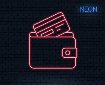 네온 불빛. 신용 카드 선 아이콘이있는 지갑. 현금 돈 기호입니다. 지불 방법 기호입니다. 빛나는 그래픽 디자인. 벽돌 벽.