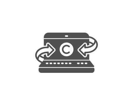 ノートブックのシンプルなアイコンをコピーライティング。オピライトサイン。メディア コンテンツ シンボル。品質設計要素。クラシックなスタイ  イラスト・ベクター素材