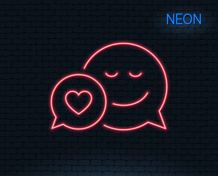 Neon light. Comic speech bubble with Smile line icon. Chat emotion with heart sign. Glowing graphic design. Brick wall. Vector Illustration