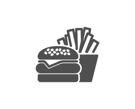 Burger with fries simple icon. Fast food restaurant sign. Hamburger or cheeseburger symbol. Quality design elements. Classic style. Illustration
