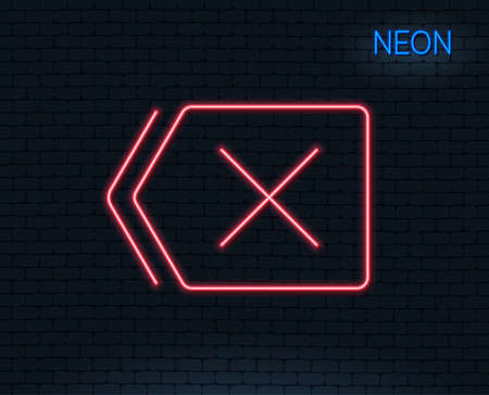 Neon light. Delete line icon. Remove sign. Cancel or Close symbol. Glowing graphic design. Brick wall. Ilustração