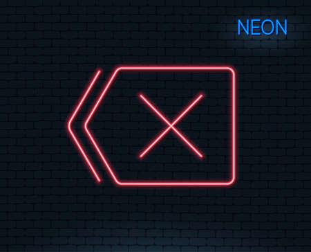 Neon light. Delete line icon. Remove sign. Cancel or Close symbol. Glowing graphic design. Brick wall. Illustration