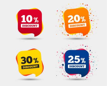 Icônes de vente discount. Offre de prix spéciaux. 10, 20, 25 et 30% de réduction sur les symboles de réduction. Bulles ou symboles de chat. Éléments colorés. Vecteur Banque d'images - 93507138