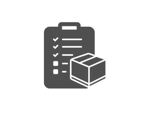 Pakket checklist eenvoudig pictogram. Logistiek vinkje. Pakket controlesymbool. Kwaliteitsontwerpelementen. Klassieke stijl.