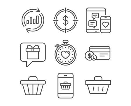 Set of Dollar target, Payment method and Update data icons. Heartbeat timer, Wish list and Social media signs. Shop cart, Smartphone buying and Shopping basket symbols.