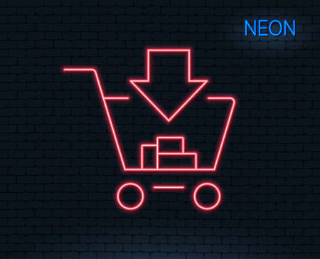 Neon light. Add to shopping cart line icon. Online buying sign. Supermarket basket symbol. Glowing graphic design. Brick wall. Vector illustration.
