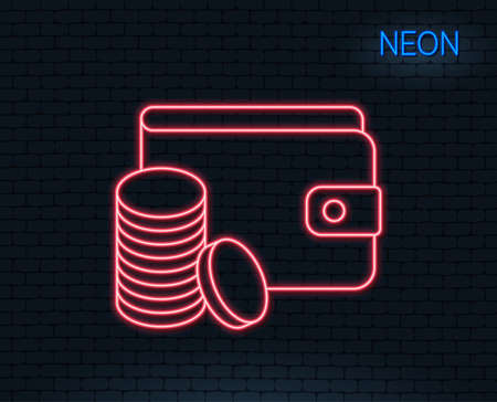 Neon light. Wallet with coins line icon. Cash money sign. Payment method symbol. Glowing graphic design. Brick wall. Vector illustration.