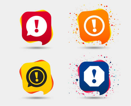 Attention icons. Exclamation speech bubble symbols. Caution signs. Speech bubbles or chat symbols. Colored elements. Vector illustration.