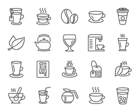 コーヒーとティーラインのアイコン。カプチーノ、ジュース、アイス、ラテサインのセット。ティーポット、コーヒーポット、ホットドリンクをス