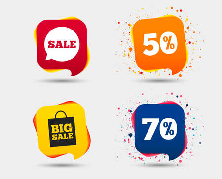 Sale speech bubble icon. 50% and 70% percent discount symbols. Big sale shopping bag sign. Speech bubbles or chat symbols. Colored elements. Vector illustration. Illustration