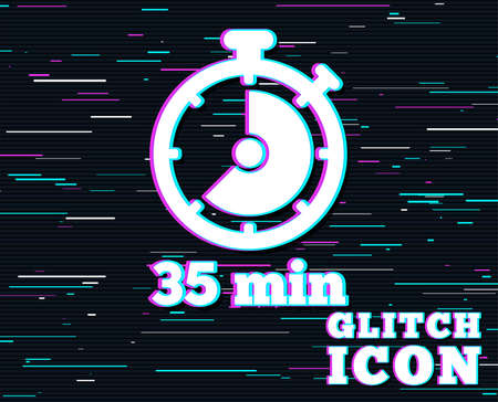 Glitch effect. Timer sign icon. 35 minutes stopwatch symbol. Background with colored lines. Vector illustration.