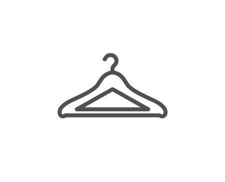 Cloakroom line icon. Hanger wardrobe sign. Clothes service symbol. Quality design element. Editable stroke. Vector illustration.
