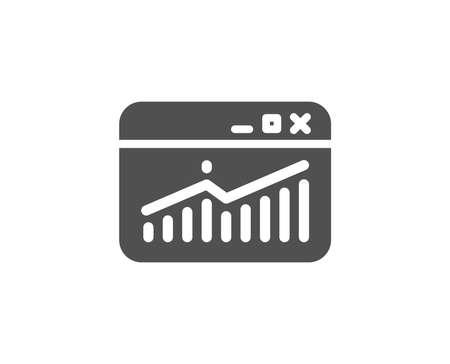 웹 사이트 소통량 간단한 아이콘. 차트 또는 판매 성장 사인을보고하십시오. 분석 및 통계 데이터 기호입니다. 품질 디자인 요소입니다. 고전적인 스타