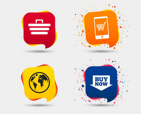 Online shopping icons. Smartphone, shopping cart, buy now arrow and internet signs. WWW globe symbol. Speech bubbles or chat symbols. Colored elements. Vector illustration.