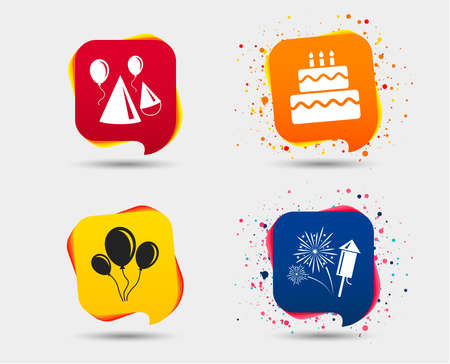 Birthday party icons. Cake, balloon, hat and muffin signs. Fireworks with rocket symbol. Double deck with candle. Speech bubbles or chat symbols. Colored elements. Vector illustration. Çizim