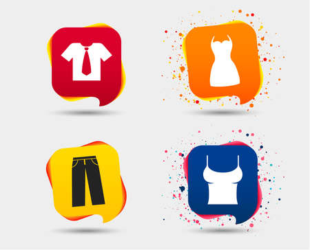 Clothes icons. T-shirt with business tie and pants signs. Women dress symbol. Speech bubbles or chat symbols. Colored elements. Vector illustration.
