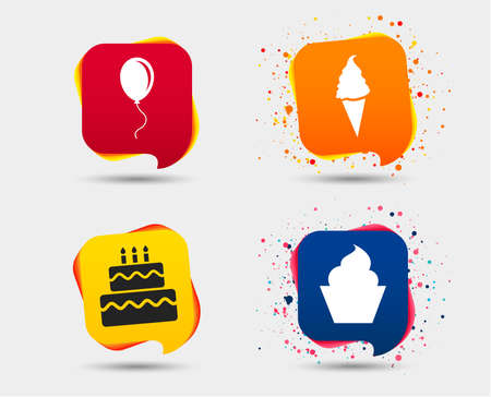 Birthday party icons. Cake with ice cream signs. Air balloon with rope symbol. Speech bubbles or chat symbols. Colored elements. Vector illustration. Illustration