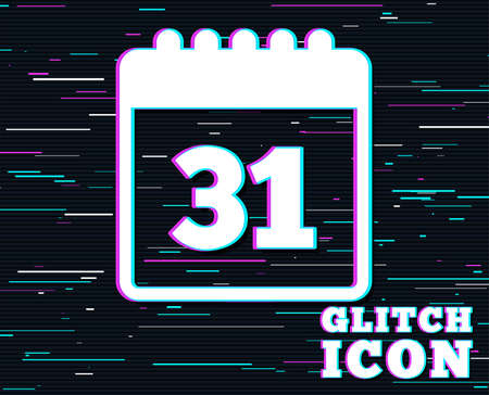 Glitch effect. Calendar sign icon. Date or event reminder symbol. Background with colored lines. Vector illustration. Çizim
