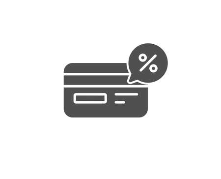 Credit card simple icon. Banking payment card with discount sign. Cashback service symbol. Quality design elements. Classic style. Vector illustration.
