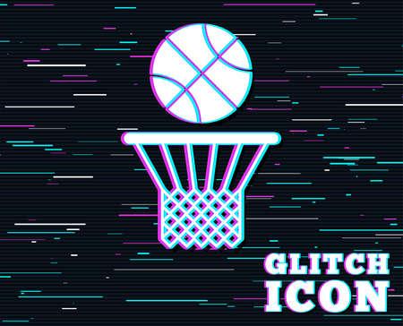 글리치 효과. 농구 바구니 및 공 기호 아이콘입니다. 스포츠 기호입니다. 컬러 라인 배경입니다. 벡터 일러스트 레이 션.