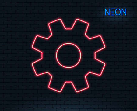 Neon light. Cogwheel line icon. Service sign. Transmission rotation mechanism symbol. Glowing graphic design. Brick wall. Vector illustration.