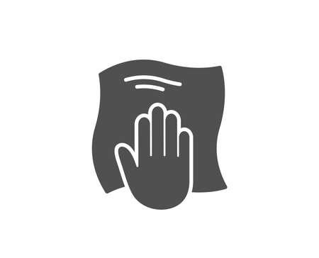 Ściereczka do czyszczenia prosta ikona. Wytrzeć symbolem szmatki. Znak wyposażenia gospodarstwa domowego. Wysokiej jakości elementy konstrukcyjne. Klasyczny styl. Ilustracji wektorowych.