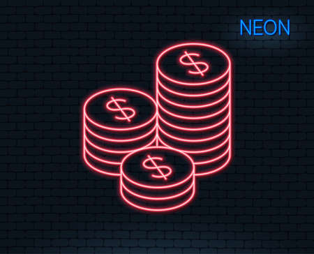 Neon light. Coins money line icon. Banking currency sign. Cash symbol. Glowing graphic design. Brick wall. Vector 向量圖像