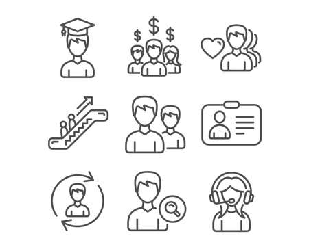 Set of Id card, Human resources and Search people icons. Salary employees, Student and Escalator signs. Man love, Couple and Support symbols. Human document, Update profile, Find profile. Vector