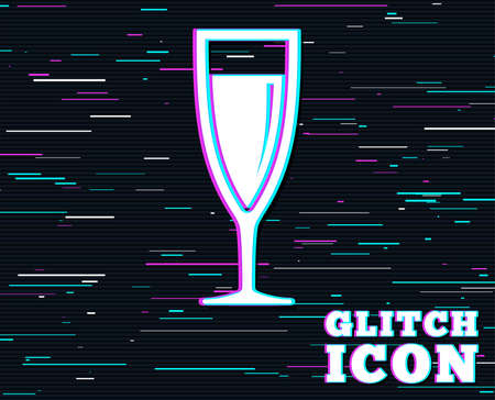 Glitch effect. Glass of champagne sign icon. Sparkling wine. Celebration or banquet alcohol drink symbol. Background with colored lines. Vector illustration.