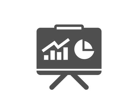 Presentation board simple icon. Report chart or Sales growth sign. Analysis and Statistics data symbol. Quality design elements. Classic style. Vector