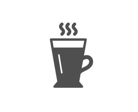 Latte simple icon. Hot Coffee or Tea sign. Fresh beverage symbol. Quality design elements. Classic style. Vector