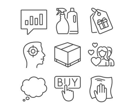 Set of Delivery box, Couple and Comic message icons. Recruitment, Analytical chat and Buying signs. Shampoo and spray, Coupons and Washing cloth symbols. Cargo package, Valentines day, Speech bubble
