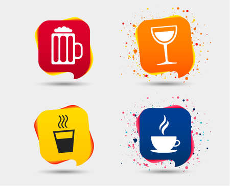Drinks icons. Coffee cup and glass of beer symbols. Wine glass sign. Speech bubbles or chat symbols. Colored elements. Vector Ilustracja