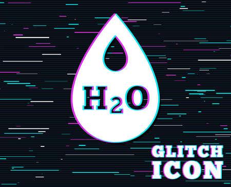 グリッチ効果。H2O ウォータードロップサインアイコン。引き裂き記号。色付きの線を持つ背景。ベクトル