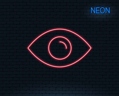 Neon light. Eye line icon. Look or Optical Vision sign. View or Watch symbol. Glowing graphic design. Brick wall. Vector