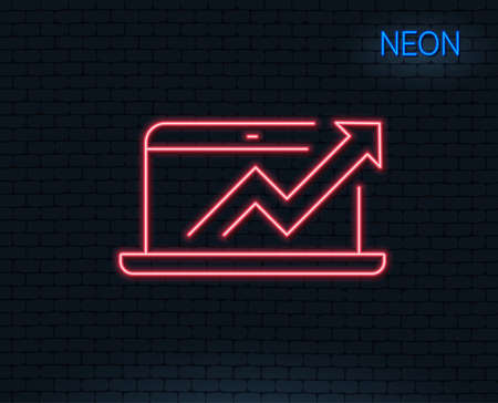 Neon light. Data Analysis and Statistics line icon. Report graph or Chart sign. Computer data processing symbol. Glowing graphic design. Brick wall. Vector