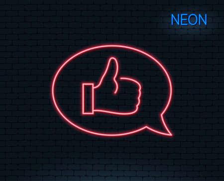 네온 불빛. 긍정적 인 피드백 라인 아이콘입니다. 통신 기호입니다. 연설 거품 기호입니다. 빛나는 그래픽 디자인. 벽돌 벽. 벡터