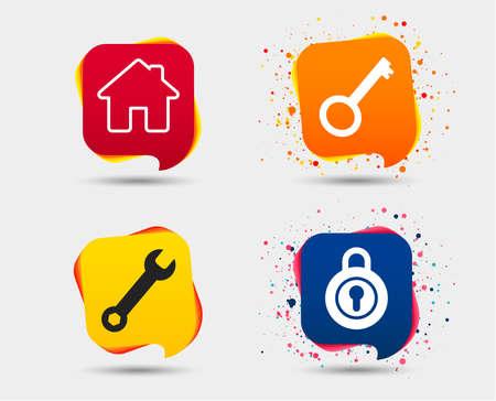홈 키 아이콘입니다. 렌치 서비스 도구 기호입니다. 로커 기호입니다. 메인 페이지 웹 탐색. 연설 거품 또는 채팅 기호. 컬러 요소입니다. 벡터