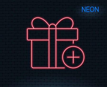 ネオンライトギフト ボックスの行アイコンを追加します。プレゼントまたは販売のサイン。誕生日ショッピングシンボル。ギフトラップのパッケー