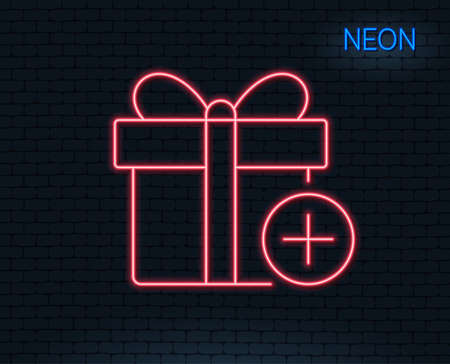 Neon light. Add Gift box line icon. Present or Sale sign. Birthday Shopping symbol. Package in Gift Wrap. Glowing graphic design. Brick wall. Vector