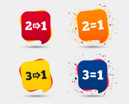 Special offer icons. Take two pay for one sign symbols. Profit at saving. Speech bubbles or chat symbols. Colored elements. Stock Vector - 93832561
