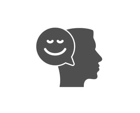 Positive thinking simple icon. Human communication symbol. Smile chat sign. Quality design elements. Classic style.