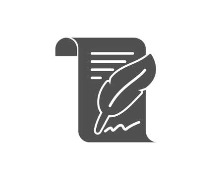 Feather signature simple icon. Copy writing sign. Feedback symbol. Quality design elements.