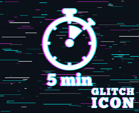 Glitch effect. Timer sign icon. 5 minutes stopwatch symbol. Background with colored lines.