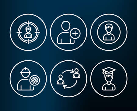 Set of Person, User communication and Add user icons. Headhunting, Engineer and Student signs. Edit profile, Human resources, Profile settings. Person in target, Worker with cogwheel, Graduation cap