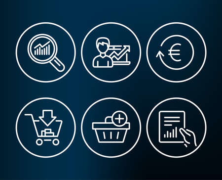 Set of Shopping, Success business and Exchange currency icons. Add purchase, Data analysis and Document signs. Add to cart, Growth chart, Reshresh exchange rate. Vector