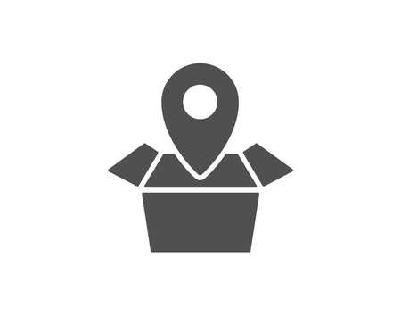 シンプルなアイコンを追跡するパッケージ。配信監視標識。出荷ボックスの場所のシンボル。品質設計要素。クラシックなスタイル。ベクトル